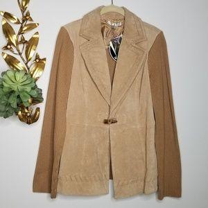 Peter Nygard Tan Suede Leather & Knit Cardigan M